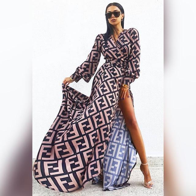 Μοντέρνο maxi χρωματιστό φόρεμα FENDORA
