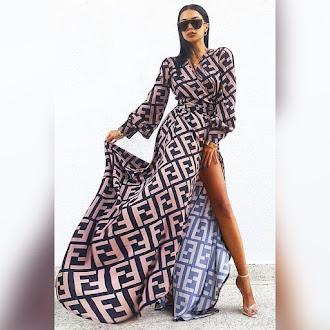 Μοντέρνο μάξι χρωματιστό φόρεμα FENDORA