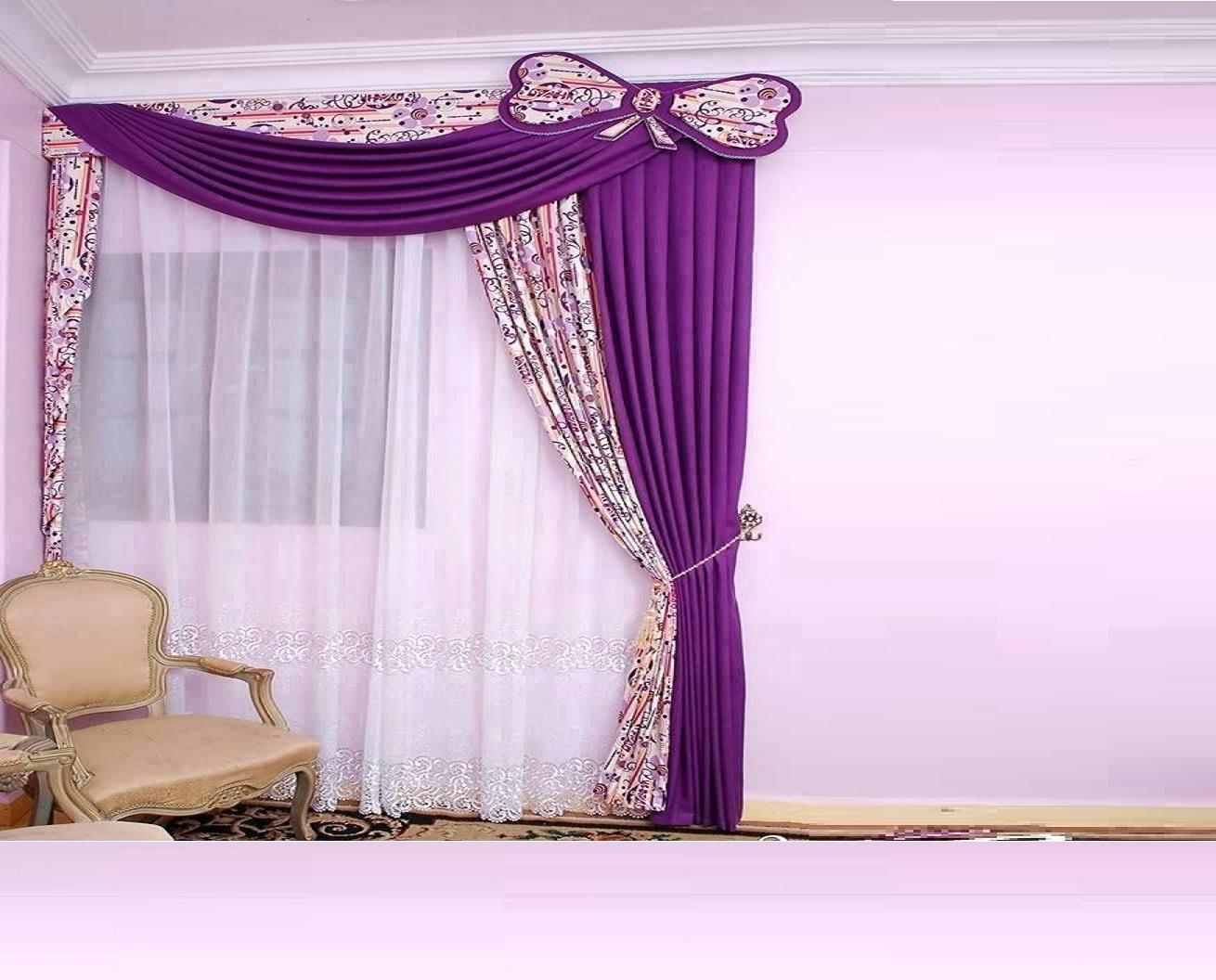 Modern curtains designs bedroom - Purple Modern Curtains Designs For Girls Bedroom Window Treatment 2017
