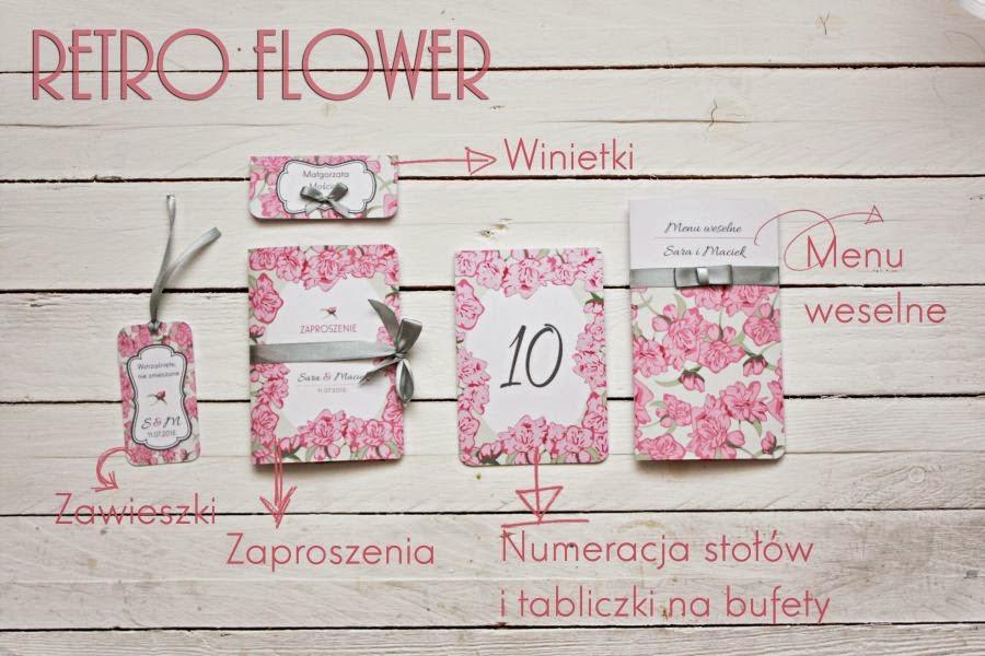 Zaproszenia i dodatki ślubne w kwiaty retro