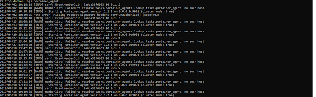 docker logs portainer_agent 2