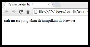 hasil tampilan di browser pada kode html