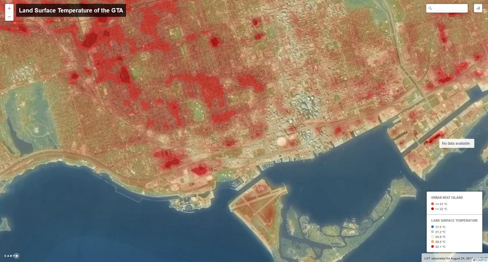 Land Surface Temperature of Toronto