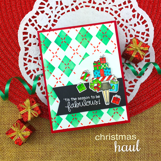 Be Fabulous Christmas Card by Jennifer Jackson | Christmas Haul Stamp Set and Argyle Stencil Set by Newton's Nook Designs #newtonsnook #handmade