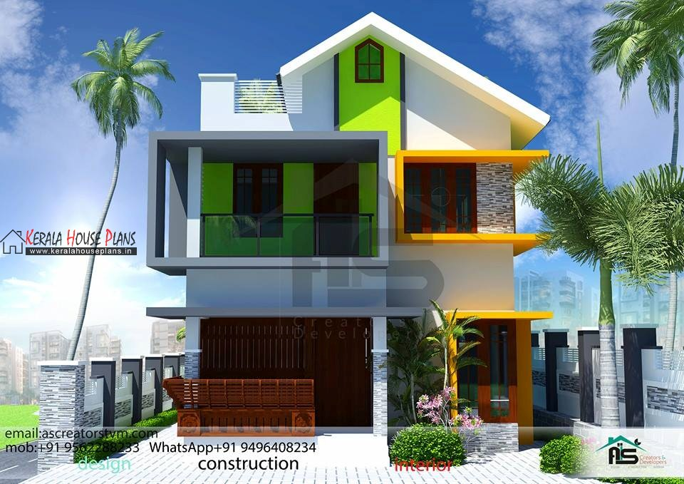 kerala home designs photos in double floor