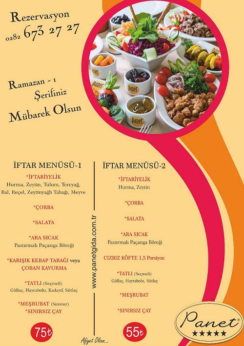 panet restaurant çorlu tekirdağı iftar menü