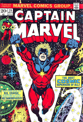 Captain Marvel #29 marvel 1970s bronze age comic book cover art by Jim Starlin