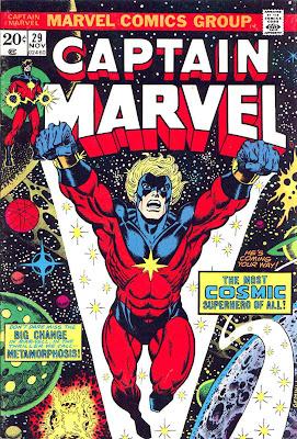 Captain Marvel #29 marvel 1970s bronze age comic book cover art by Jim Starlin