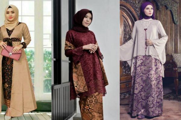model gamis batik kombinasi kain polos terbaru