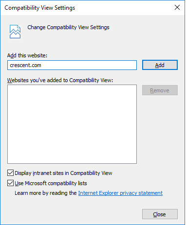 add site to compatibility view