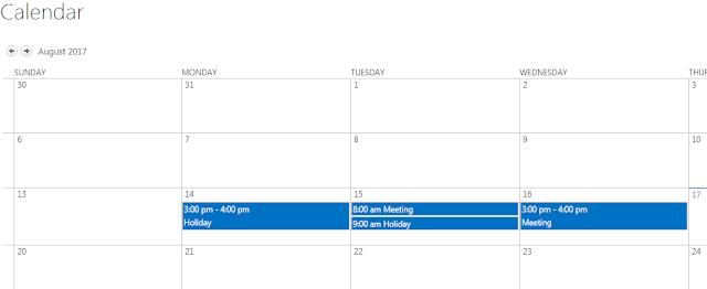 Calendar with no colour coding