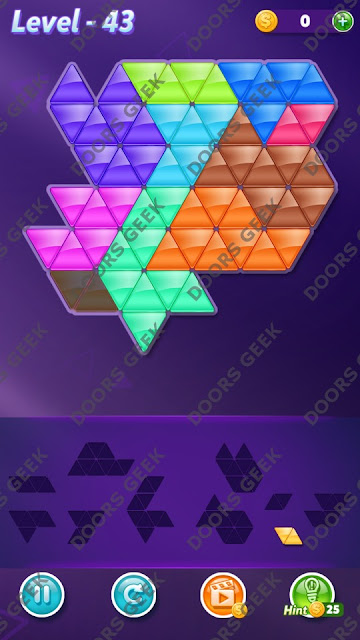 Block! Triangle Puzzle 10 Mania Level 43 Solution, Cheats, Walkthrough for Android, iPhone, iPad and iPod