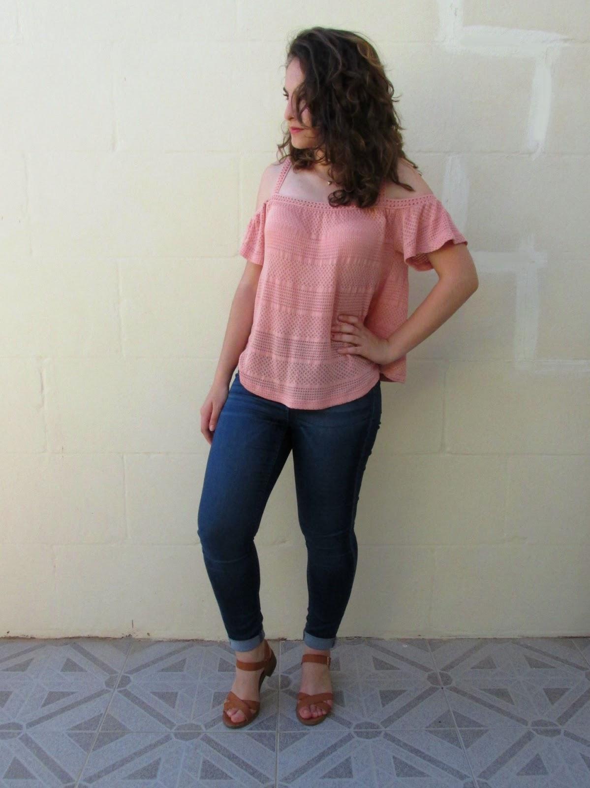 Summer outfit 2016, crochet cold shoulder top, denim jeans, tan cross strap sandals, accessorize pendant necklace