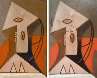 ピカソの名画「赤い肘掛け椅子の女」落書き