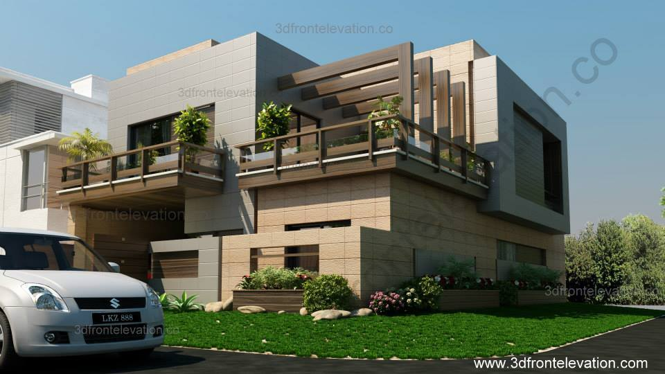 3d Front Elevation Corner House : D front elevation corner house marla plan design