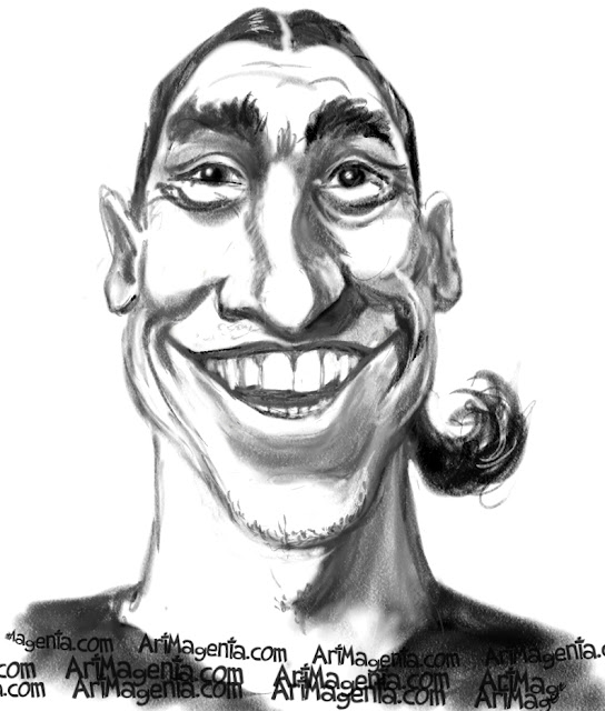 Zlatan Ibrahimovic is a caricature by caricaturist Artmagenta