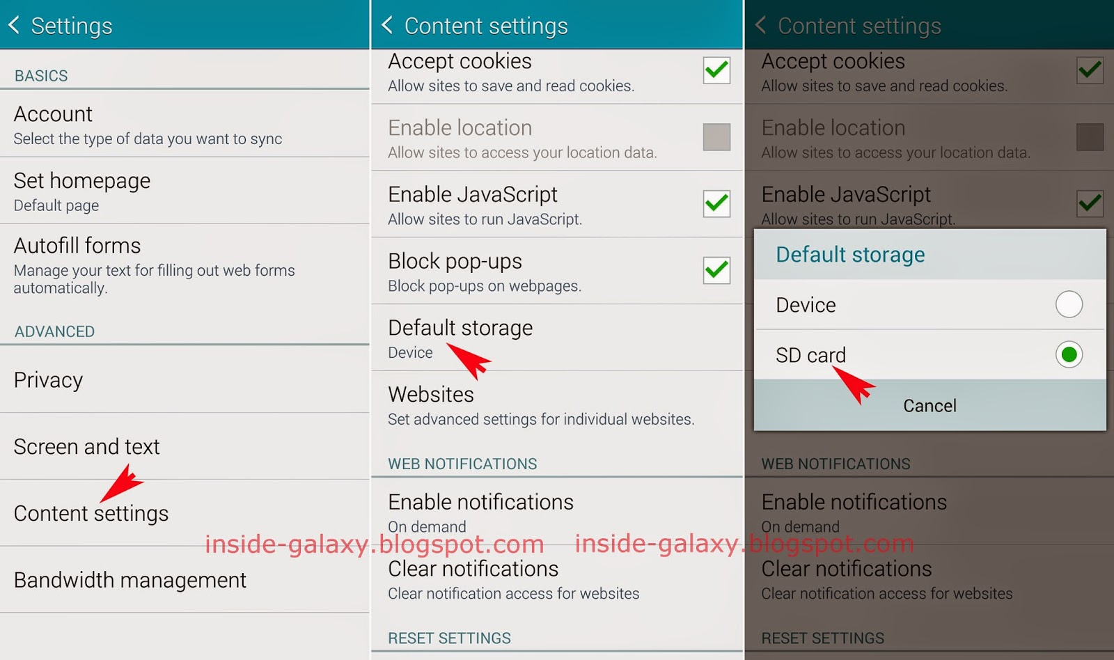 Inside Galaxy Samsung Galaxy S5 How To Set Sd Card As The Default Storage In Internet App In Android 4 4 2 Kitkat