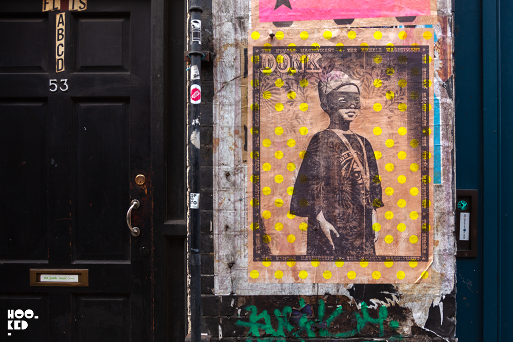 Street artist Donk's hand printed posters in Shoreditch