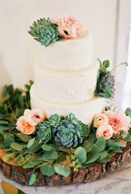 rustic succulent wedding cake