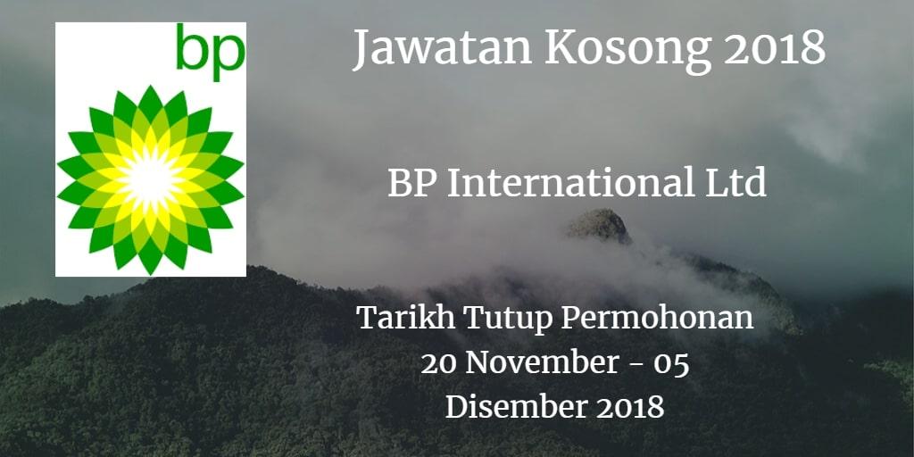 Jawatan Kosong BP International Ltd 20 November - 05 Disember 2018