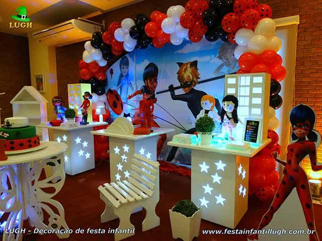 Decoração tema Miraculous - Festa infantil Ladybug - Cat Noir - Mesa de aniversário infantil