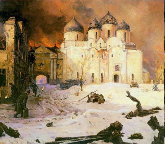 Koukryniksy,  La Fuite des Allemands à Novgorod, Musée Russe à Saint-Pétersbourg, Russie