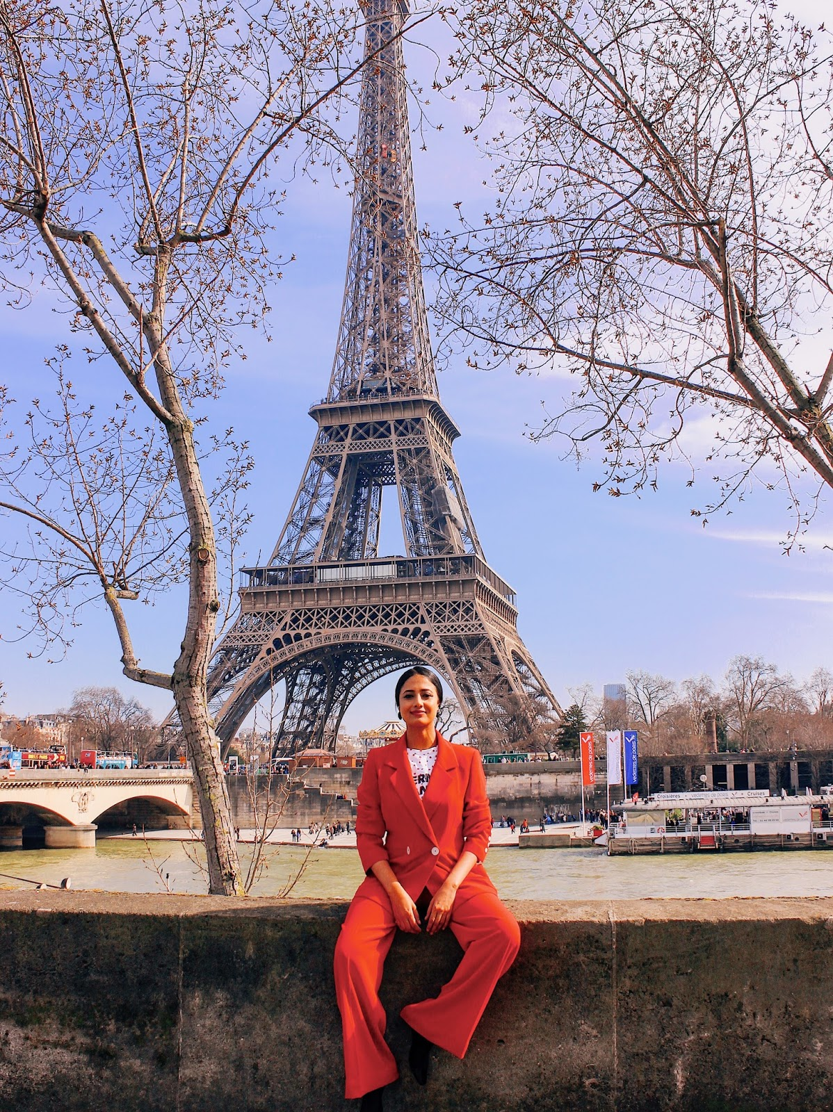 zara pant suit, zara suit, red matching set, pant suit, trouser suit, red pant suit, red trouser suit, style a suit, effortless chic, casual chic, wear in paris, paris outfit, wide leg trouser, double breasted blazer, indian blogger, uk blog, sock boots, paris red
