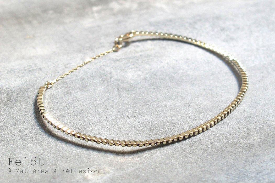 Feidt bracelet jonc Milgrain or jaune