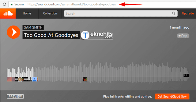 Copy URL dari lagu SoundCloud