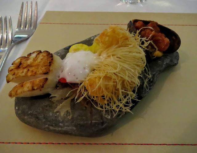 Sligo seafood on a specially harvested stone along the Wild Atlantic Way in County Sligo, Ireland thanks to Eala Bhan restaurant