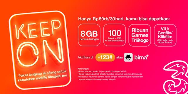 Three - Promo Paket Keep On Cuma 59 Ribu 8GB 100 Menit & SMS All Operator dll