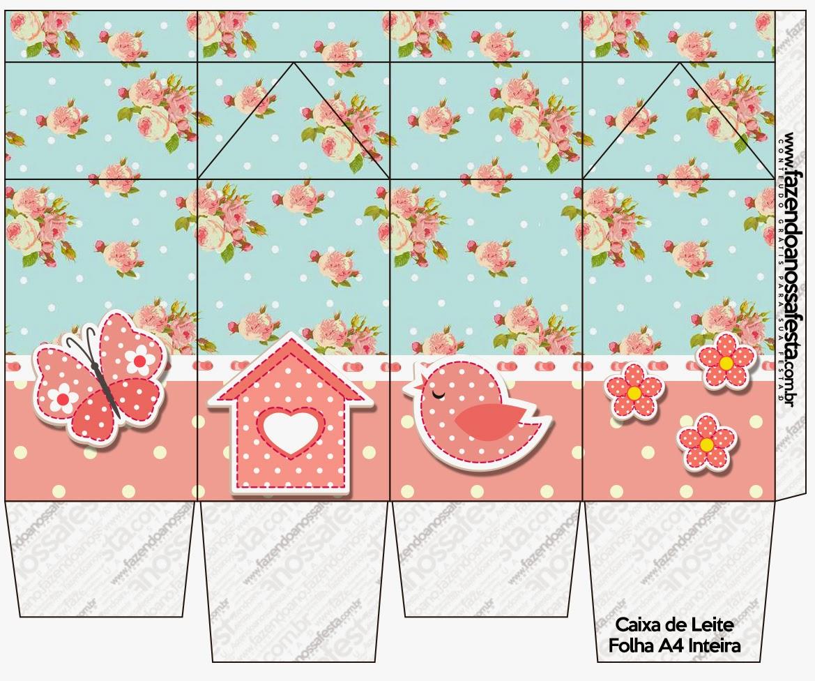Caja Tipo Leche para Imprimir Gratis de Pájaros y Mariposas.