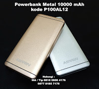 Powerbank Asven Metal 10.000mAh P100AL12, Souvenir Powerbank Asven Metal 10.000mAh P100AL12 (TITANIA), Souvenir Power Bank Custom logo