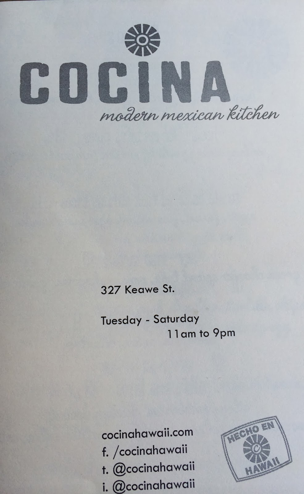 TASTE OF HAWAII: COCINA MODERN MEXICAN KITCHEN