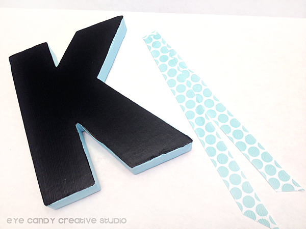 polka dot ribbon, initial craft, chalkboard paint, back to school craft