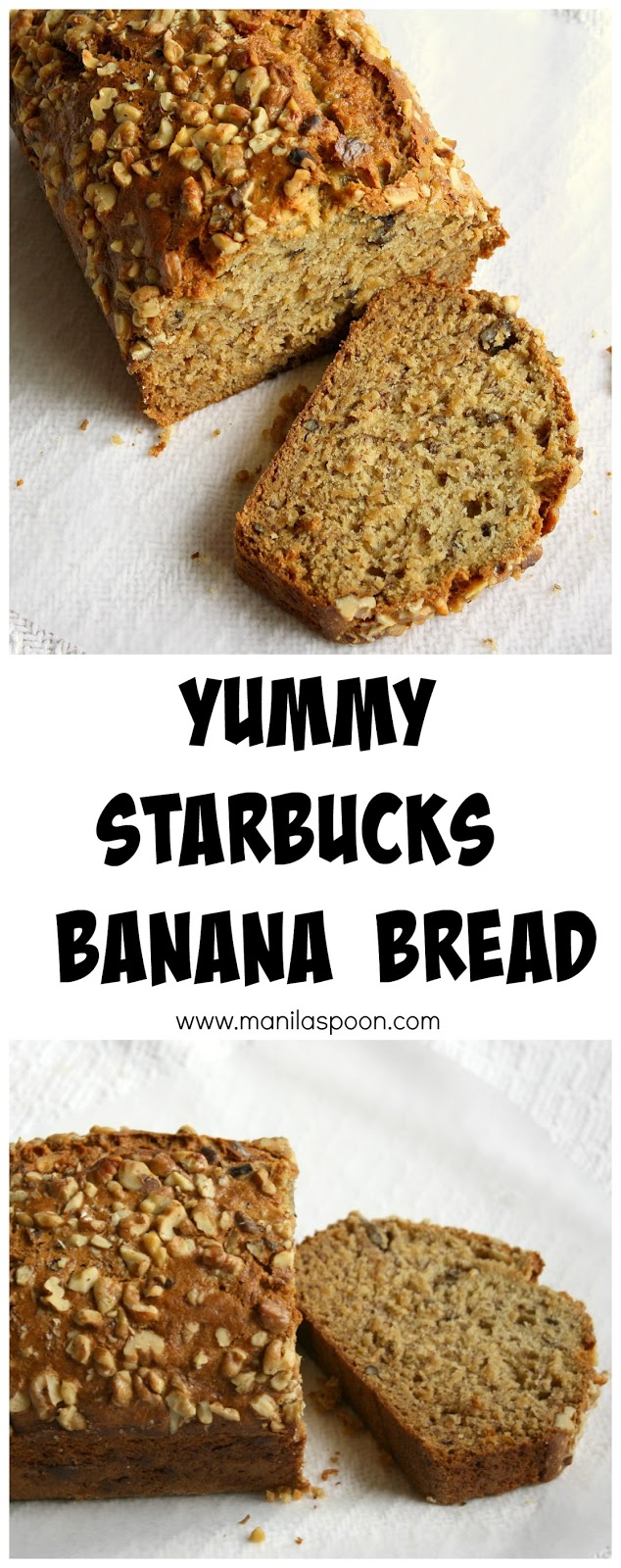 Starbucks Banana Walnut Bread Recipe - now all you need is some coffee or tea to enjoy this moist and scrumptious bread!