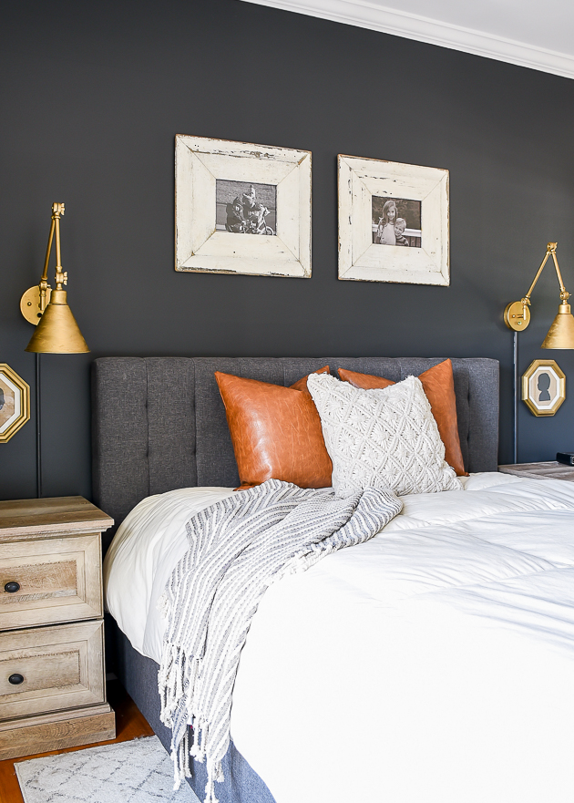 modern farmhouse  bedroom makeover, tone on tone, sherwin-williams iron ore