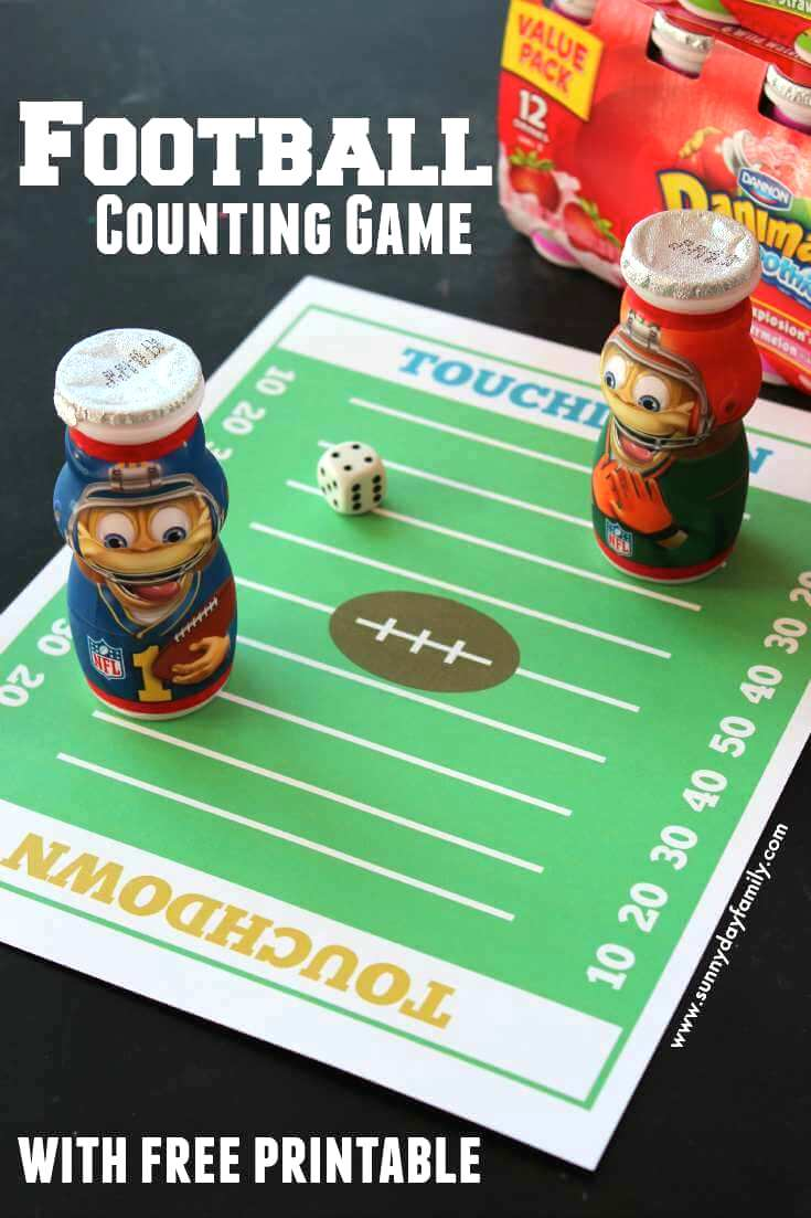 Little football fans will love to practice counting by 10s with this fun football themed counting game! Includes free printable game board.