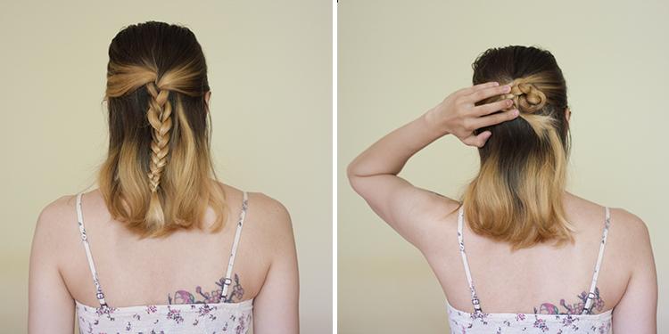 medium hair bun braid hairstyle tutorial