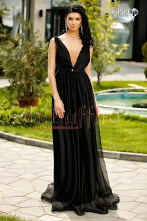Rochie lunga de seara eleganta din tul negru