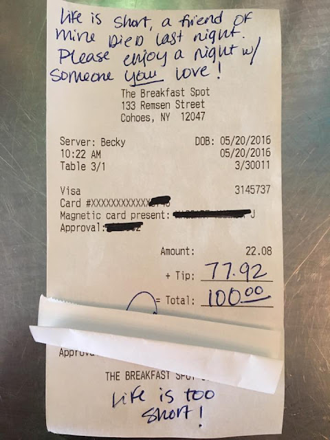 Waitress 'left on verge of tears' after grieving customer leaves $77.92 tip and inspiring note