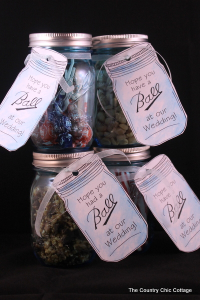 """Mason Jar wedding favors with free printable tags -- love mason jars and these tags and they are available to print in a variety of """"Ball"""" jar sayings!"""