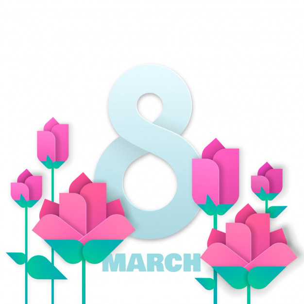 Women's day background in origami style Free Vector