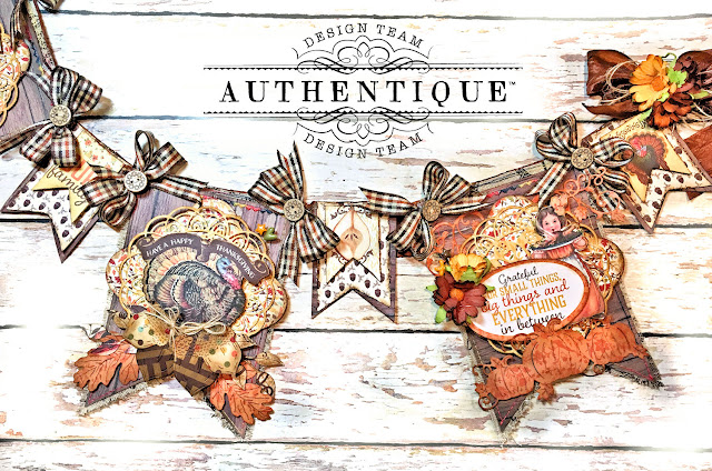 Authentique Pleasant Thanksgiving Banner Tutorial by Kathy Clement Photo 10