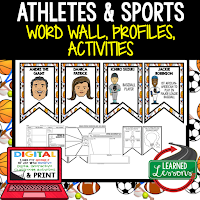 Athletes Profiles & Activity Pages (History) Digital Google Option, Word Wall