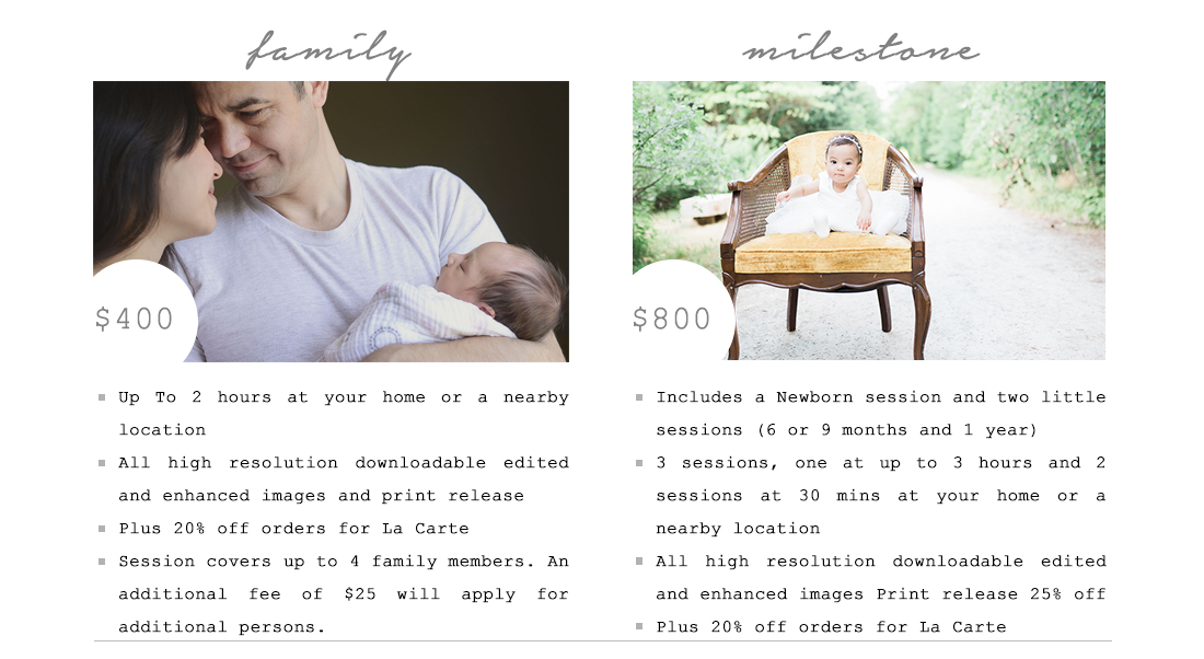 the final touch photography family price list