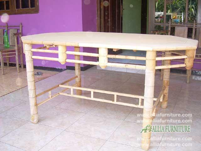 kursi makan kayu jati ukiran bambu