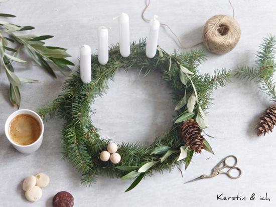 Adventskranz DIY Olivenzweige nordisch minimalistisch