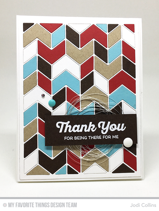 Handmade card from Jodi Collins featuring Rainbow Greetings stamp set and Split Chevron Cover-up and Blueprints 2 Die-namics #mftstamps