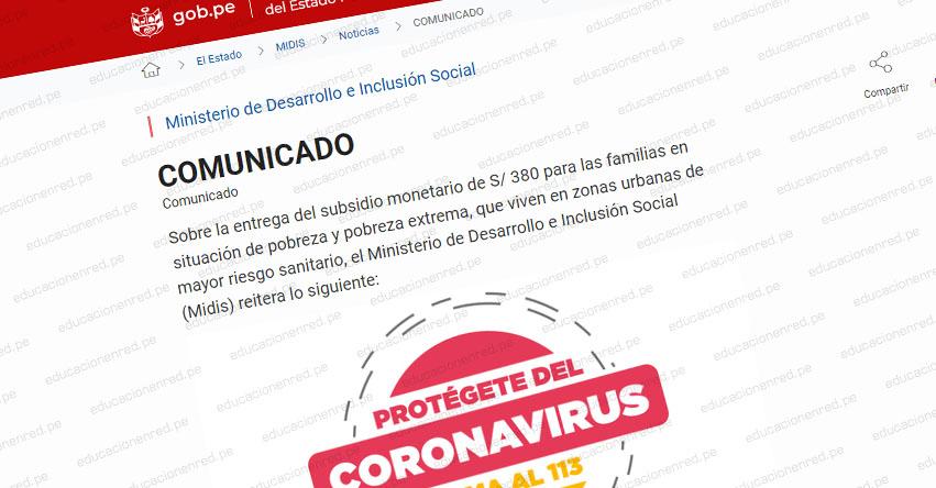 MIDIS: Comunicado Oficial sobre nueva fecha y horario para el cobro del Bono de S/ 380